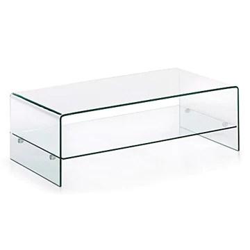 Kave Home - Table Basse Burano en Verre trempé et Transparent de Forme rectangulaire 110 x 55 cm