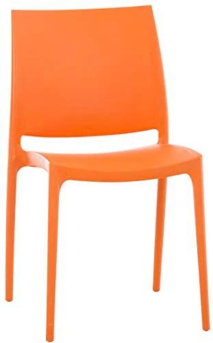 Chaise de Jardin Maya en Plastique Empilable - Chaise de Cuisine Résistante aux UV, Chaise de Bistro - avec Capacité de Charge Max. 160 kg:, Couleurs:Orange
