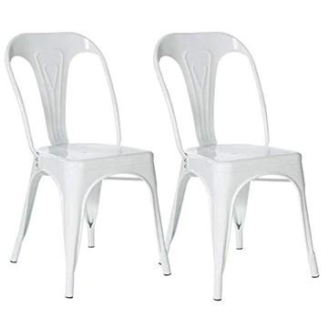 IDMarket - Lot de 2 chaises Leny métal Blanc Brillant empilable pour Salle à Manger