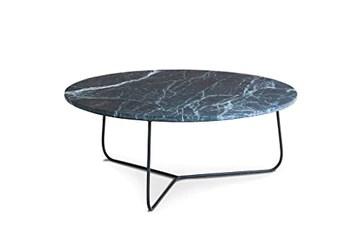 pib Table Basse scandinave Vertü en marbre Vert - Association Facile, Matériaux Nobles | Une Table Basse au Luxe Intemporel Entre marbre Vert et métal Mat - Noir foncé (L80 x H33 x P80 cm)
