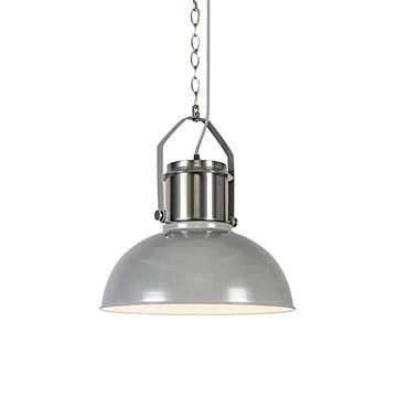 QAZQA Industriel Lampe à Suspension/Lustre/Luminaire/Lumiere/Éclairage industrielle gris - Industriel 37 Acier Gris,Acier Rond E27 Max. 1 x 40 Watt/intérieur/Salon/Cuisine