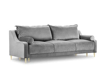 Milo Interiors Velvet Sofa with Bed Function and Box, Zora, 3 Seats, Grey, 215x94x90