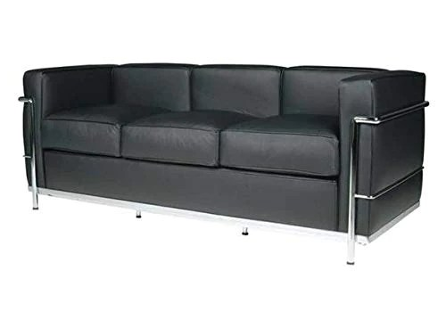 Canapé 3 places en acier inoxydable, cuir italien, noir, marron, Cognac blanc