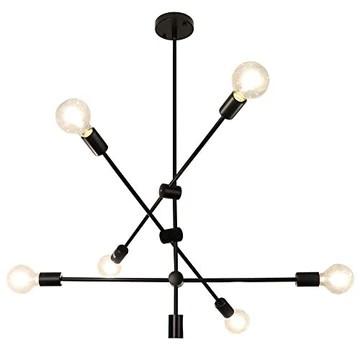 LynPon Sputnik Lustre Industriel Noir Suspension Luminaire Vintage Plafonnier 6 Lumières pour Chambre Cuisine Loft Couloir Salle À Manger Salon Café
