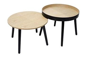 By Demeyere « Holly » Tables Basses gigognes en Bois à Motif (Noir)