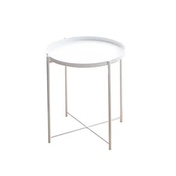 Table Basse/Table de Salon Table de chevet noir de haute qualité Plateau en métal nordique moderne Petite table ronde Table d'appoint Simple Mobilier élégant Table Basse Vintage (Color : White)