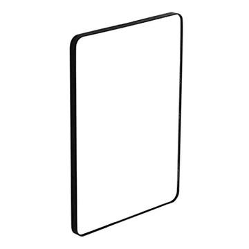 miroir rond noir metal 50 cm 60cm 70 cm 80 cm Miroir mural Rectangle, cadre en métal noir, miroirs suspendus décoratifs pour salon, chambre à coucher, panneau de verre coin arrondi miroir maquillage