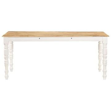 Festnight Table de Salle à Manger Table à Dîner 180x90x76 cm Bois de Manguier Massif Marron et Blanc