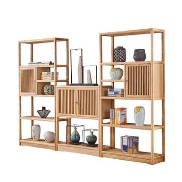 Étagère de rangement en bois massif pour salle d'étude, cadre antique, stand sans peinture, étagère de rangement multicouche couleur bois trois