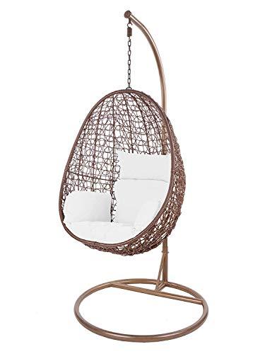 kideo swing chair interieur exterieur chaise longue polyrattan chaise suspendue chaise suspendue avec cadre et coussins brun blanc