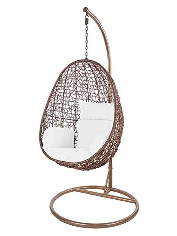 Kideo Swing Chair intérieur & extérieur, Chaise longue Polyrattan, Chaise suspendue, Chaise suspendue avec cadre et coussins (brun/blanc)