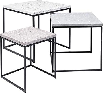 Kare Design Terrazzo Round Lot de 3 Tables d'appoint, Gris, 48 x 48 x 43