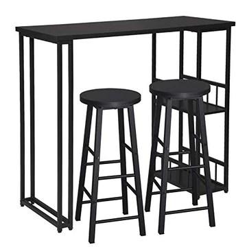 WOLTU 1 X Table de Bar avec 2 tablettes + 2 X Tabourets de Bar Structure en métal Plateau en MDF,Noir BT25sz+BH130sz-2