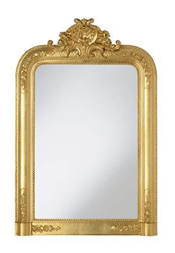 MO.WA Miroir Mural avec Cadre Classique Style Louis Philippe Fini à la Main avec Feuille d'or. esure extérieure Cm.67x97 Fabriqué en Italie