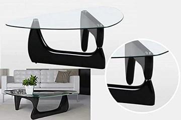Table Basse de Style Noguchi avec Plateau en Verre Transparent - Table Basse Triangulaire - Style médiator de Guitare - Trépied - Noir Mat Brillant - Table d'appoint - Table Basse