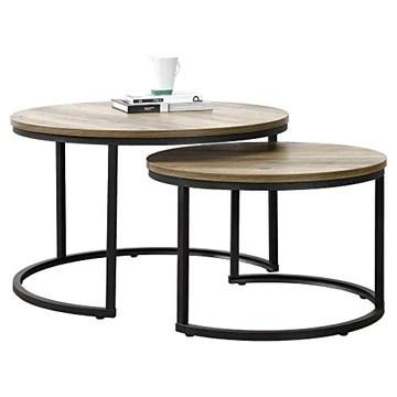 [en.casa] Set de 2 Tables Basses Rondes Gigognes Table de Salon Panneaux de Particules Métal Couleur Bois Noir Tailles