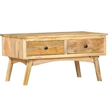vidaXL Bois de Manguier Massif Table Basse Table d'Appoint avec 2 Tiroirs Table de Salon Table de Canapé Salle de Séjour Maison Intérieur 82x52x42 cm