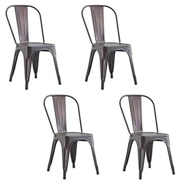 Chaise de salle à manger en métal Chaise de jardin 4 pièces Chaise de salle à manger en acier moderne industrielle Chaise de cuisine Tolix Chaise empilable en métal Chaise d'extérieur intérieure Noir