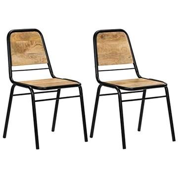 vidaXL 2X Bois de Manguier Chaise de Salle à Manger Chaise à Manger Cuisine