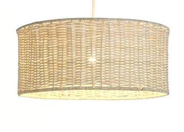 Luminaire Tambour 45, suspension rotin, 60 W, Blanc, ø 45 x H 19 cm