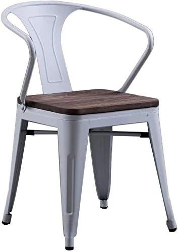 Tabouret décoratif Chaise en Fer rétro, Couleur Industrielle siège en Bois Massif en métal Chaise de Salle à Manger Meubles Fauteuil créatif Salle à Manger café Fauteuil 47.547.575.5 cm