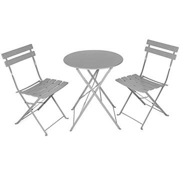 Vanage - Table Bistro avec chaises - Table et chaises pliantes - Salon de jardin 3 pièces - Parfait pour Balcon, Terasse et Jardin - Design intemporel et Couleur actuelle