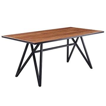 Wohnling Table de salle à manger en bois massif et métal - 180 x 77,5 x 90 cm - Table de cuisine Loft massif - Table en bois avec structure en métal - Noir