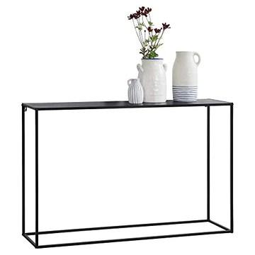 [en.casa] Table Console Table d'Appoint Industriel en Métal Résistant 74 x 115 x 32 cm Noir Mat