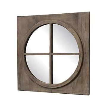 L'ORIGINALE DECO Miroir Fenêtre Ronde Œil de Bœuf Bois 55 cm x 55 cm