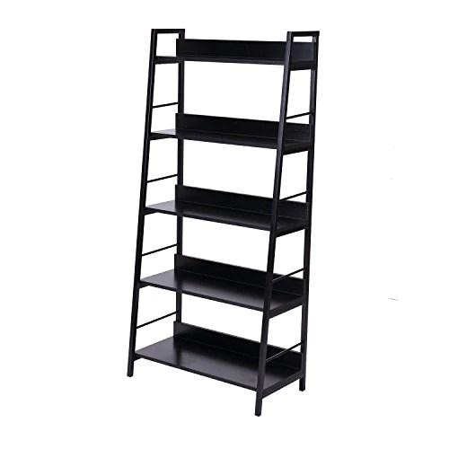 Homcom Étagère bibliothèque Style Industriel incliné 5 Niveaux 70L x 35l x 150H cm Noir
