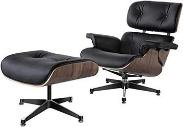 CN Cover Fauteuil Inclinable en Cuir Véritable avec Repose-Pieds Mid Century Classic Lounge Chair Chaise Longue Fauteuil Inclinable Canapé Inclinable en Bois Stratifié Et Base en Aluminium