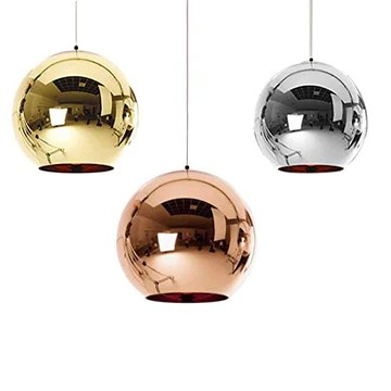 Industrial miroir moderne verre boule luminaire, miroir ajustable, Pendentif boule Ligh, ombre de lampe de plafond pour cuisine, salle à manger, Bar (Sliver, 25cm)