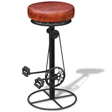 vidaXL Tabouret de Bar en Cuir véritable Style Industriel Vintage