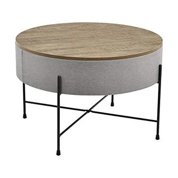 [en.casa] Table Basse Ronde avec Plateau Amovible Panneaux de Particules Textile Métal Couleur Bois Gris Noir 40 x 60 cm