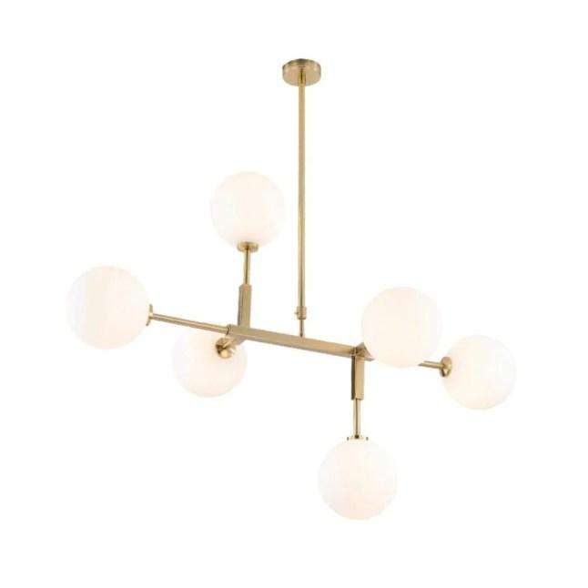 Dsrgwe Lustre Suspension Salon, Lustre en Verre à 6 Ampoules, Laiton satiné avec Globes Blancs, plafonnier de Branche de molécule Magique for Salle à Manger