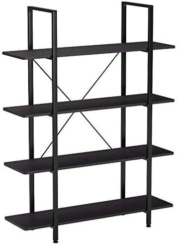 Homcom Étagère bibliothèque Style Industriel 4 étagères dim. 105L x 34l x 138H cm Acier MDF Noir