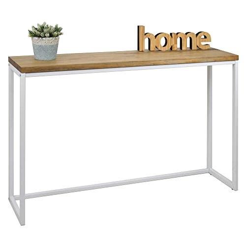 table d entree console icub big wood industriel vintage bois 3cm et metal blanc 100x30cm 80cm haute