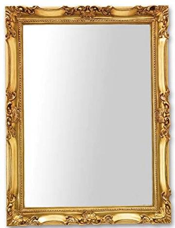 Miroir Mural avec Cadre Classique Fini à la Main avec Feuille d'or. Mesure extérieure Cm.62x82 Fabriqué en Italie