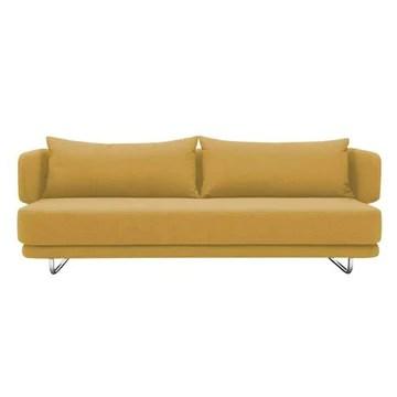 Softline Canapé lit Design Jasper en Tissu Jaune Couchage 70/140 * 200cm