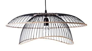 Luminaire Flore, suspension métal/rotin, 60 W, noir, ø 60 x H3 1 cm