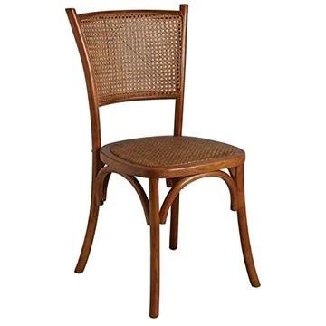 Chaise en hêtre et rotin, Dossier en cannage