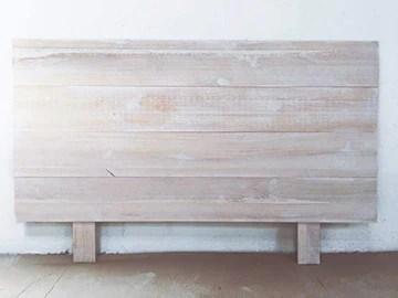 Hannun - Tête de lit Nala en Bois Massif, Artisanale et Faite à la Main/tête de lit 180, 190x100cm, Blanc Vieilli
