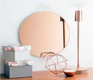 Ariane Miroir cuivre Rose 40cm