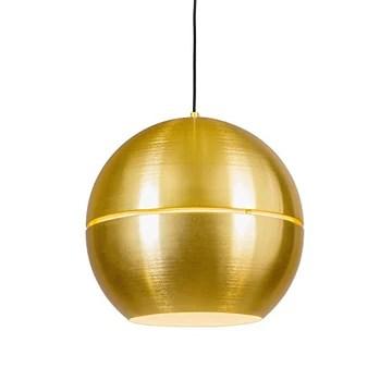 QAZQA Rétro Suspension/Lustre/Luminaire/Lumiere/Éclairage rétro or 40 cm - Slice Aluminium Doré Rond/Globe E27 Max. 1 x 60 Watt/intérieur/Salon/Cuisine