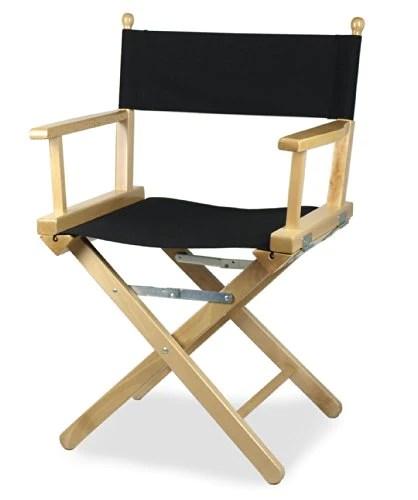 ArredaSi Regista P Chaise metteur en scène en bois teinté naturel et tissu noir