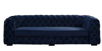 Canapé 3 places chesterfield STANLEY - Velours (Bleu Nuit)