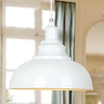 BAYCHEER E27 Métal Retro Lustre Abat-jour Suspensions Luminaires Plafonniers Lampe Industriel Blanc