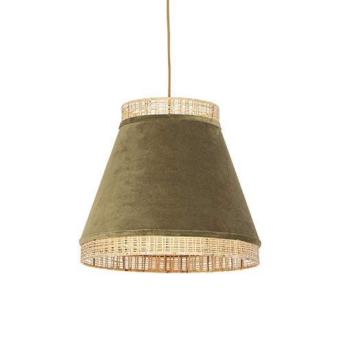 Qazqa Suspension   Lampe suspendue   Éclairage suspendu Rustique Oriental - Frills Lampe Vert Beige Doré/Laiton - E27 - Convient pour LED - 1 x 25 Watt