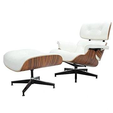 Chaise longue mi-siècle et pouf - Version plus grande - En cuir de fleur - Chaise moderne moderne - En bois massif - Mise à niveau 1 - Noyer crème