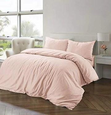 Nimsay Home Parure de lit en Coton et Lin, Drap en Coton, Rose poudré, King